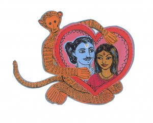 Hanuman lives with Rama and Sita forever from 'Rama and Sita - path of flames' by Sally Pomme Clayton and Sophie Herxheimer