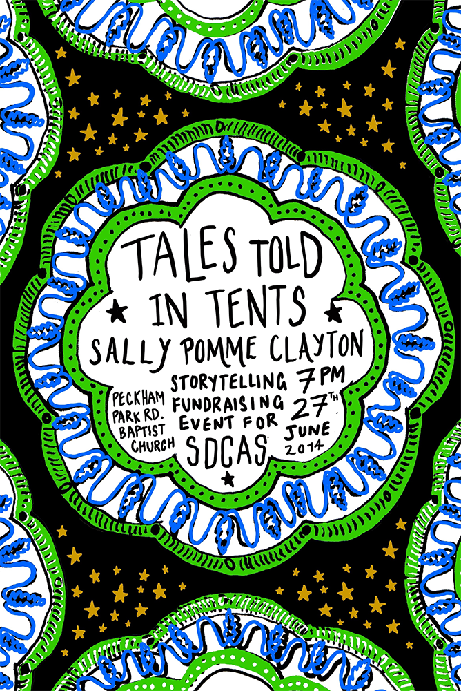 Storytelling benefit for SDCAS  - poster by Tom Scotcher