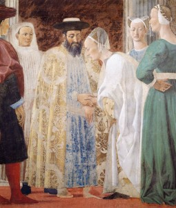 Piero Della Francesca 1464 'The meeting-between The Queen of Sheba and King Solomon'.