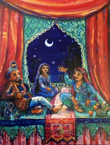 Sheherazade and her sister - painting by Sophie Herxheimer